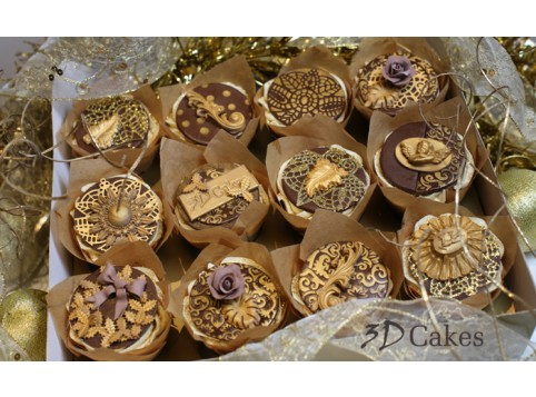GOLD BESPOKE CHRISTMAS CUPCAKES