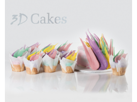 12 PASTEL COLOUR PALETTE CUPCAKES WITH PASTEL PALETTE BIRTHDAY CAKE